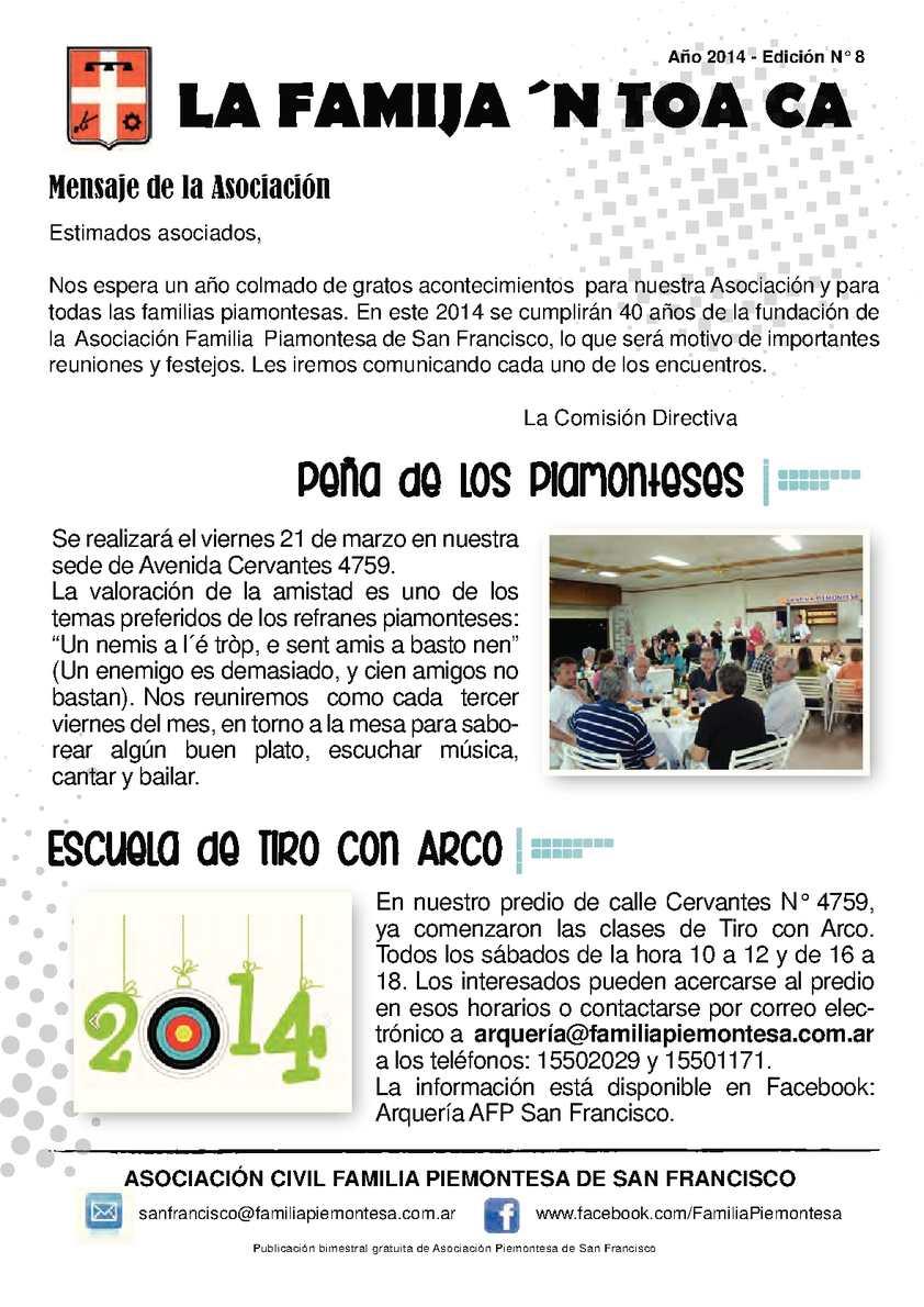 Calaméo - Boletín bimestral Familia Piemontesa de San Francisco 2014-8