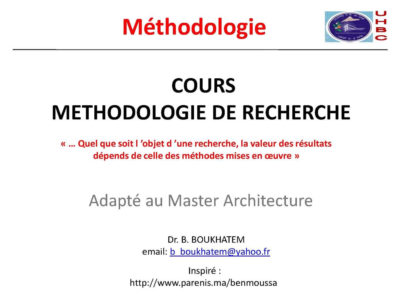 Calam o cours methodologie de recherche architecture for Conception architecturale definition