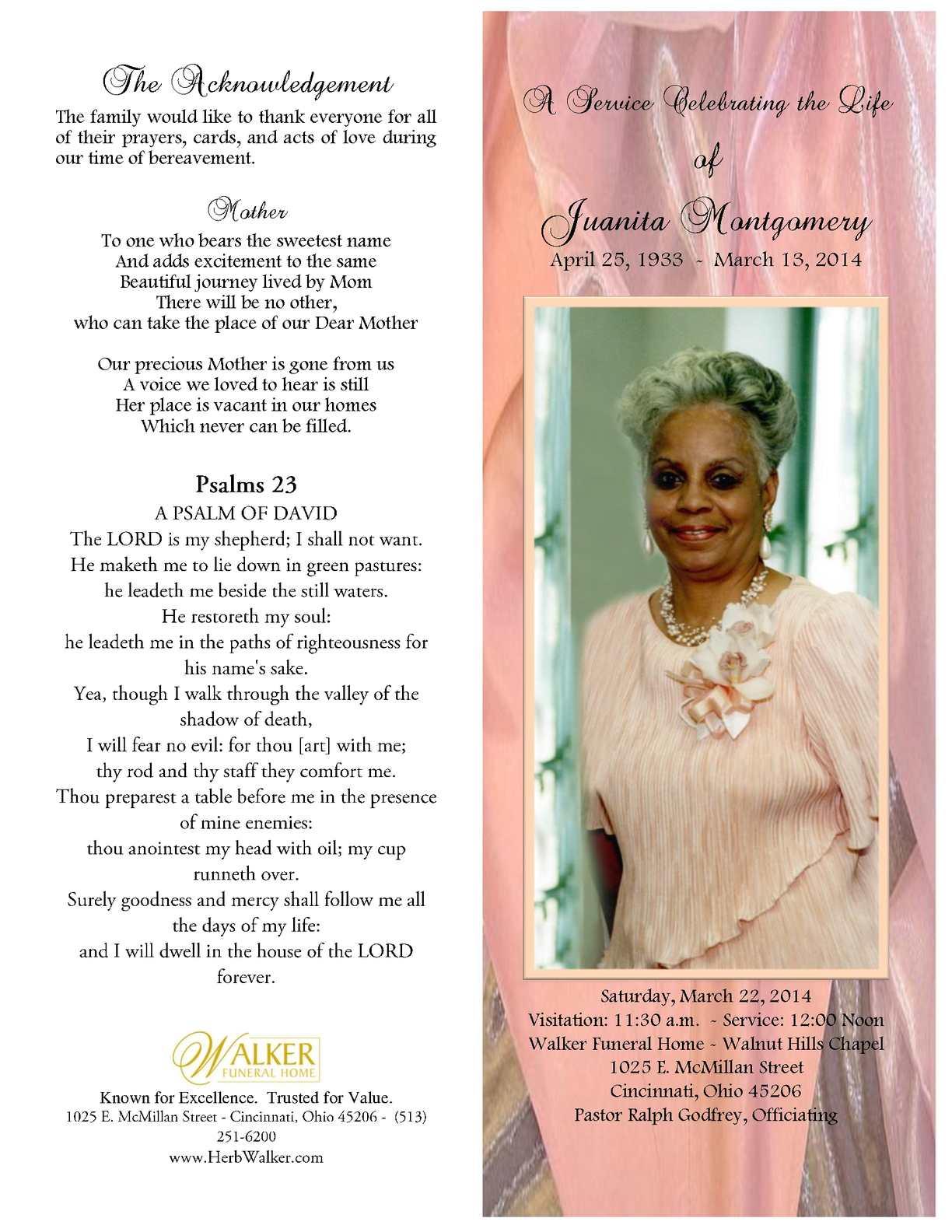Walker Funeral Home Cincinnati Ohio Obituaries
