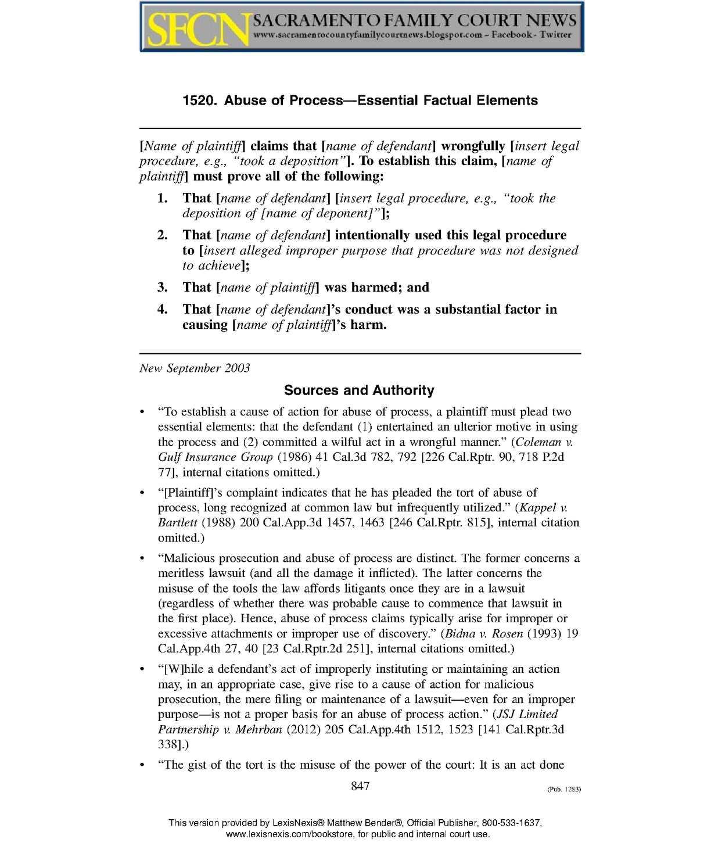 Calamo Caci 1520 Abuse Of Process Essential Factual Elements