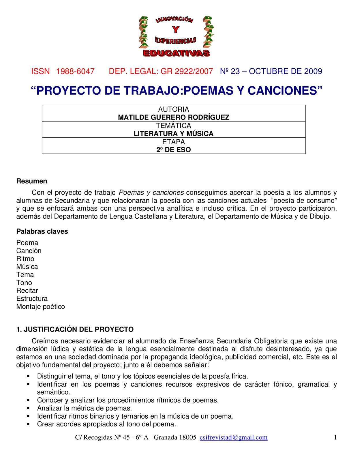 Calaméo - PROYECTO DE TRABAJO POEMAS