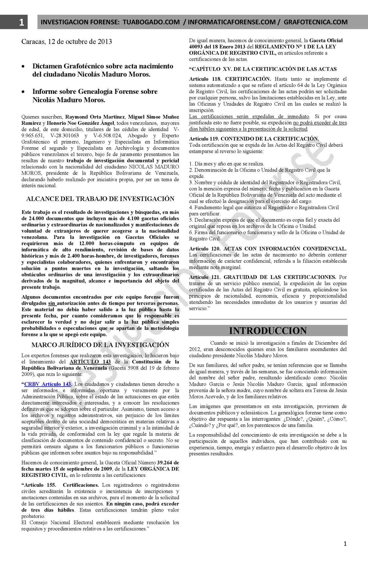Calaméo - Dictamen Grafotecnico y Genealogia Forense Acta Nacimiento ...