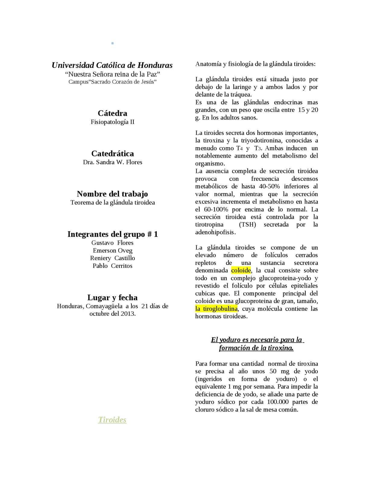 Calaméo - Informe de Fisiopatologia...La Glandula Tiroides