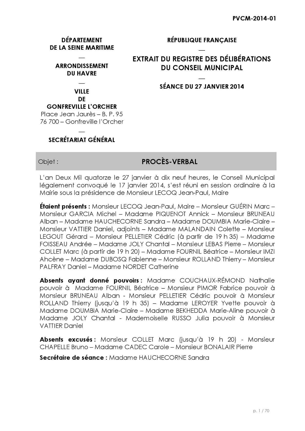 Calam o proc s verbal conseil municipal du 27 janvier 2014 - Cabinet comptable le havre ...