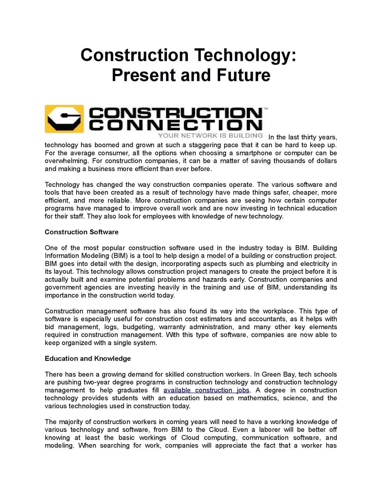 Calaméo Construction Technology Present And Future