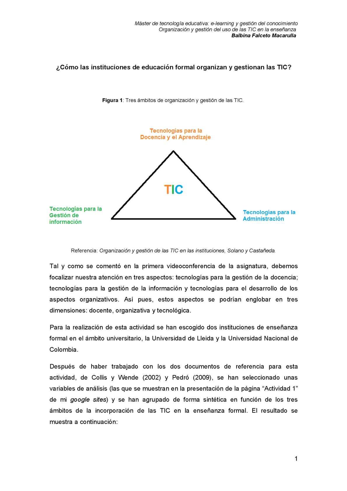 Bloque I. Actividad 1. Gestión y organización de las TIC en dos instituciones.
