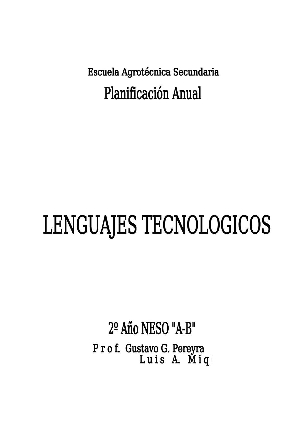planificacion lenguajes tecnologicos