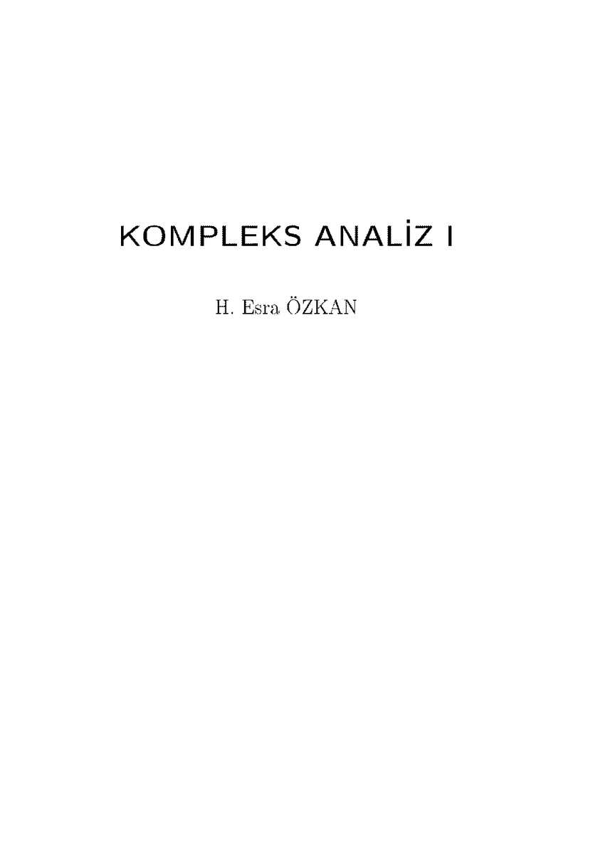Kompleks Analiz - H. Esra Özkan