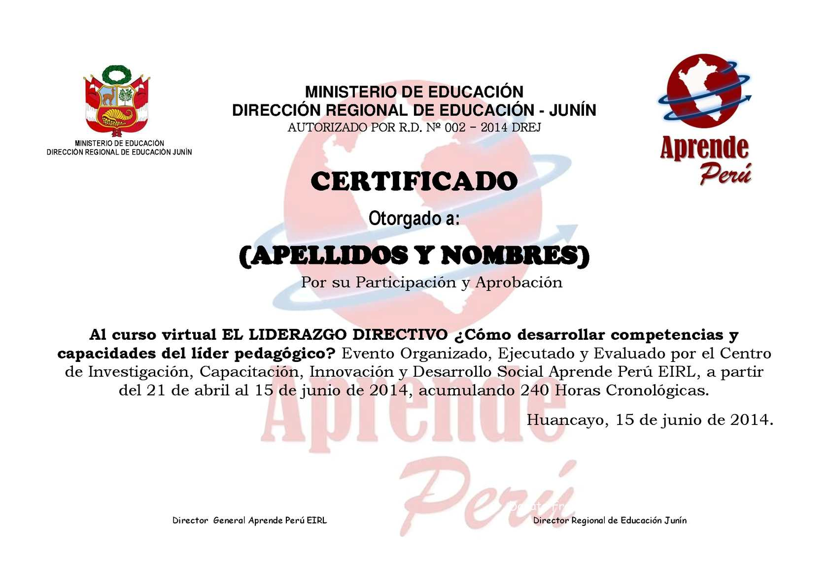 Amado Calaméo - Modelo de Certificado APRENDE PERÚ EIRL IT63