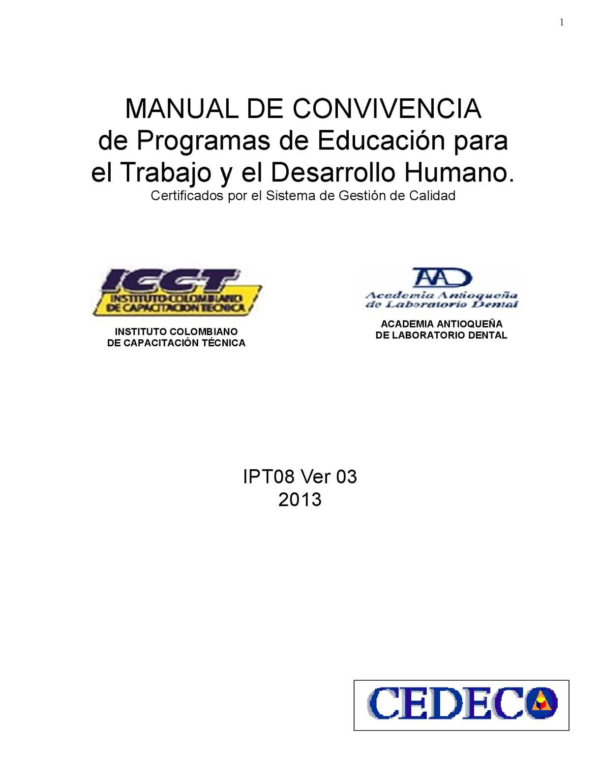 Calaméo - manual de convivencia ICCT 2013