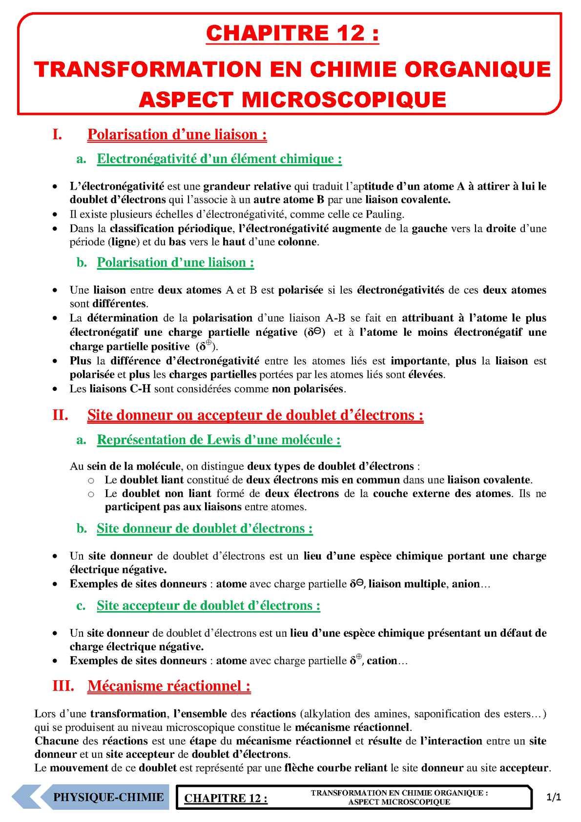 TS - PHYSIQUE/CHIMIE – Chapitre 12 | JéSky.fr