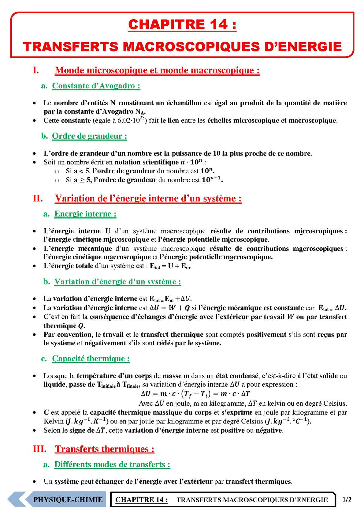 TS - PHYSIQUE/CHIMIE – Chapitre 14 | JéSky.fr