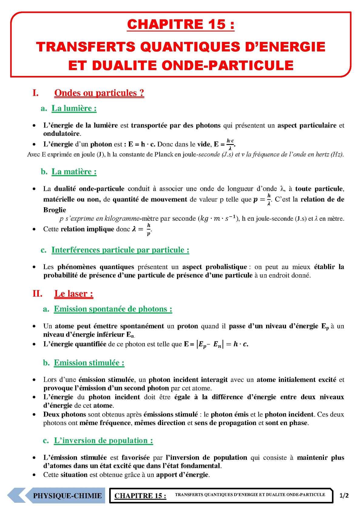 TS - PHYSIQUE/CHIMIE – Chapitre 15 | JéSky.fr