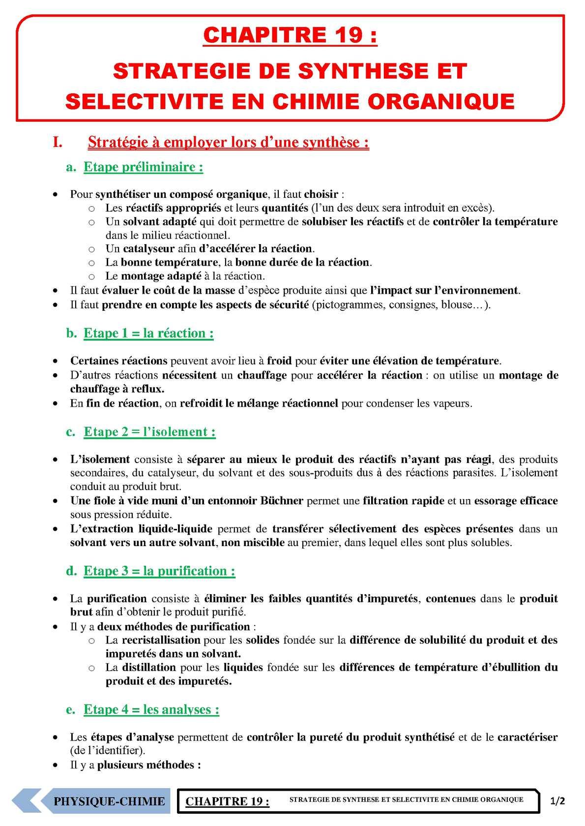 TS - PHYSIQUE/CHIMIE – Chapitre 19 | JéSky.fr