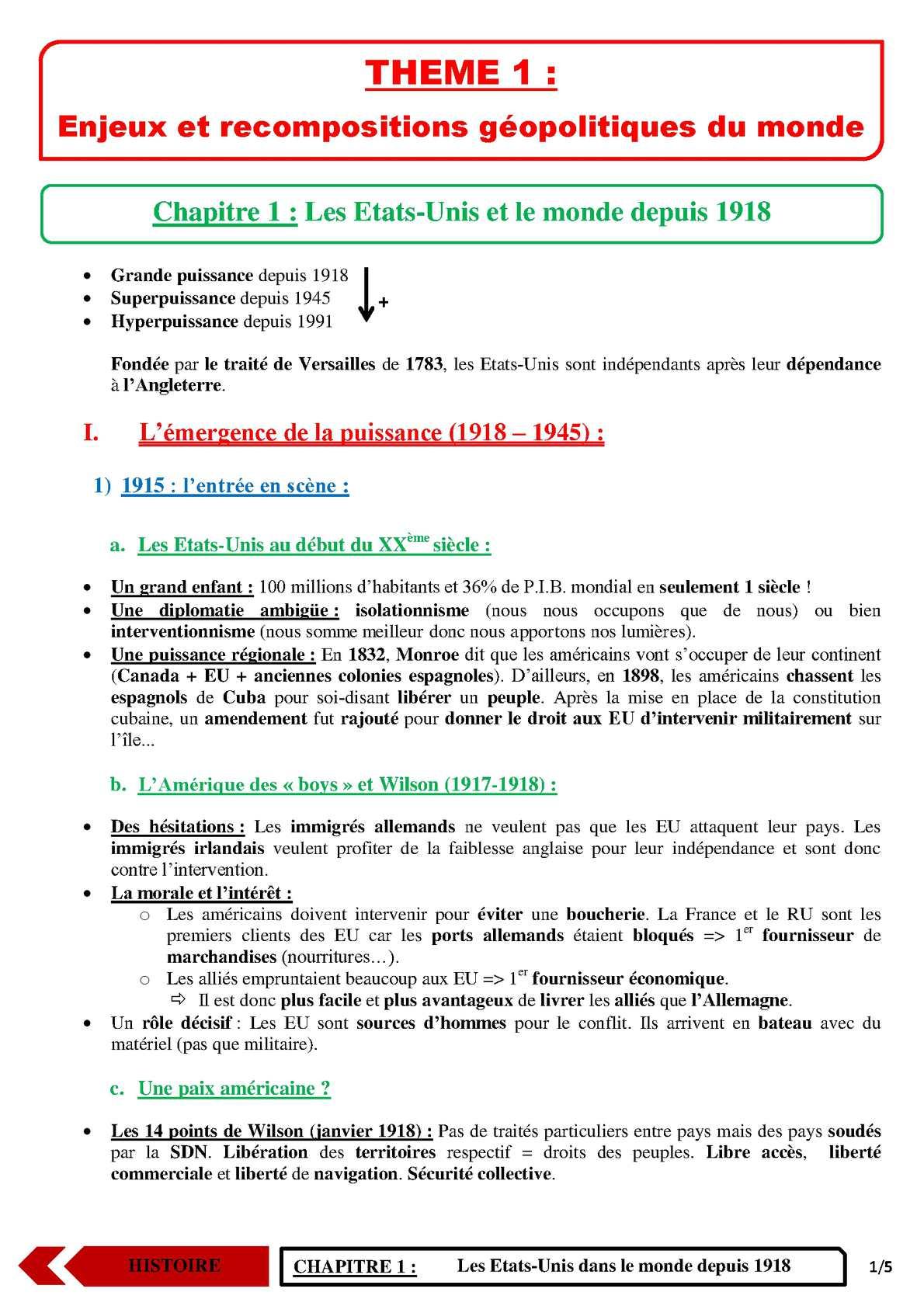 TS - HISTOIRE-GEOGRAPHIE - Chapitre 1 | JéSky.fr