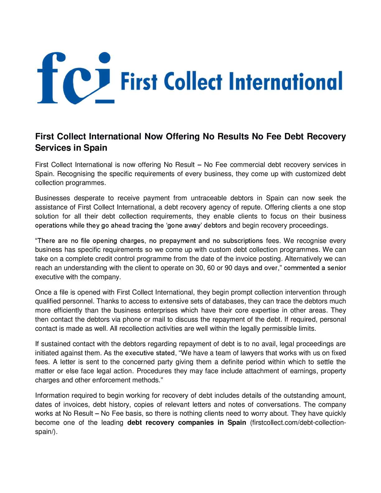 Calamo First Collect International Now Offering No Results Fee With An Understanding Of This Requirement Electric Debt Recovery Services In Spain