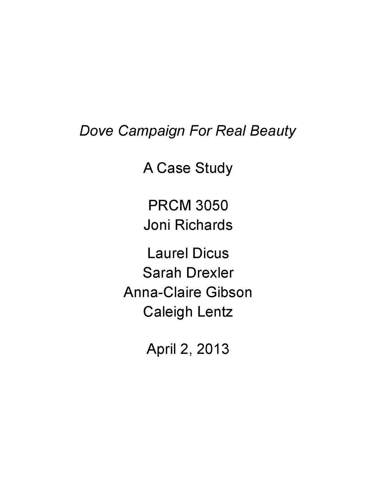 Case Study of The Dove for Real Beauty Campaign