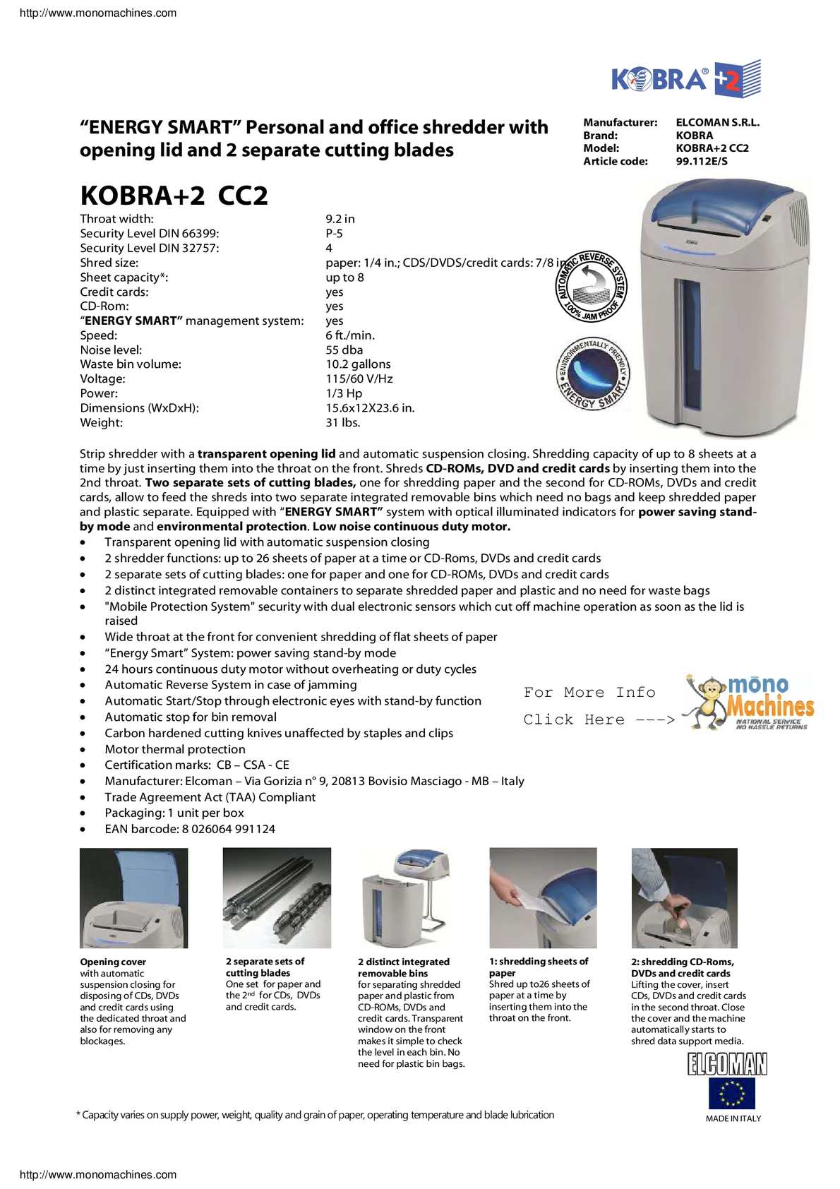 Calaméo - Kobra +2 CC2 Professional Small Offices Cross-Cut Shredder