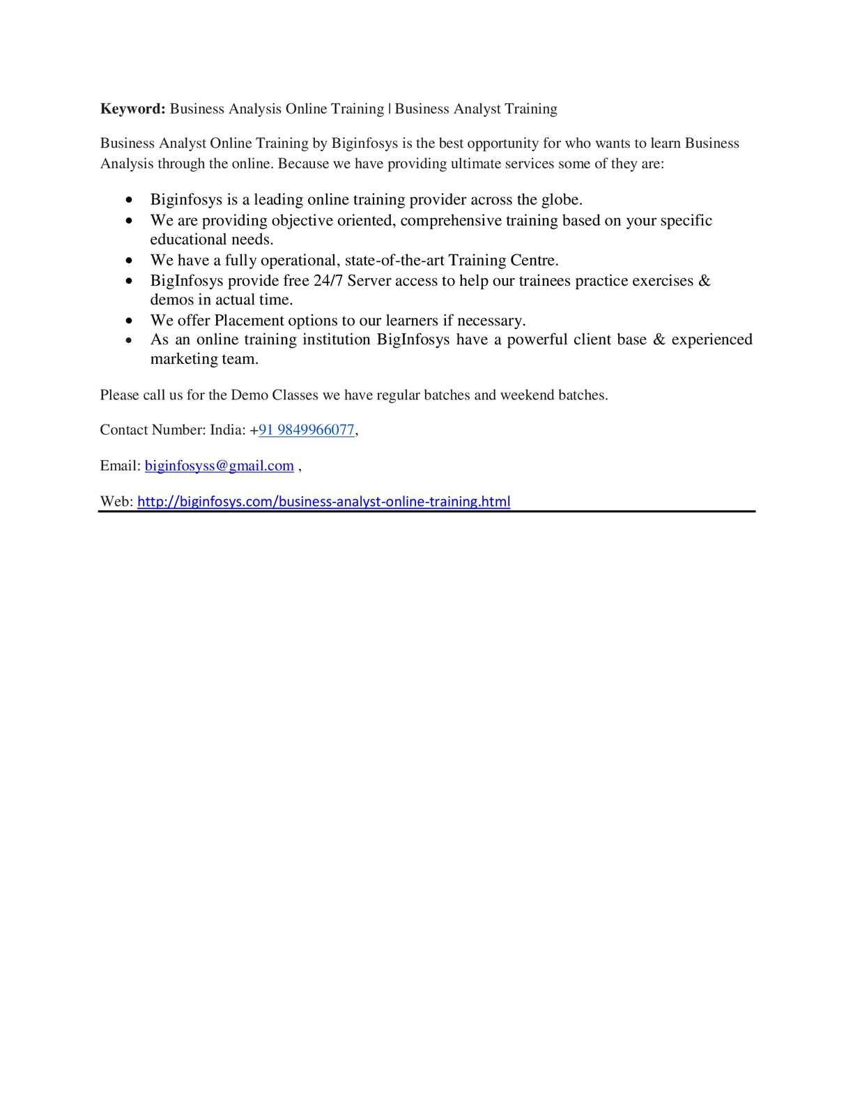 Calamo Business Analysis Online Training Business Analyst Training