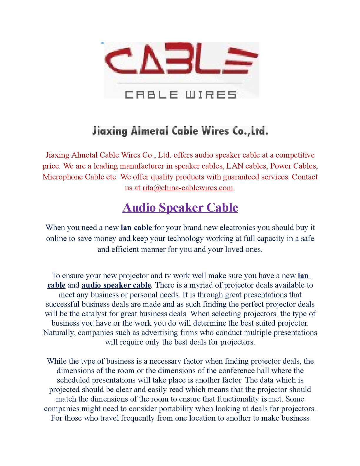 Calamo Audio Speaker Cable Wiring Money China