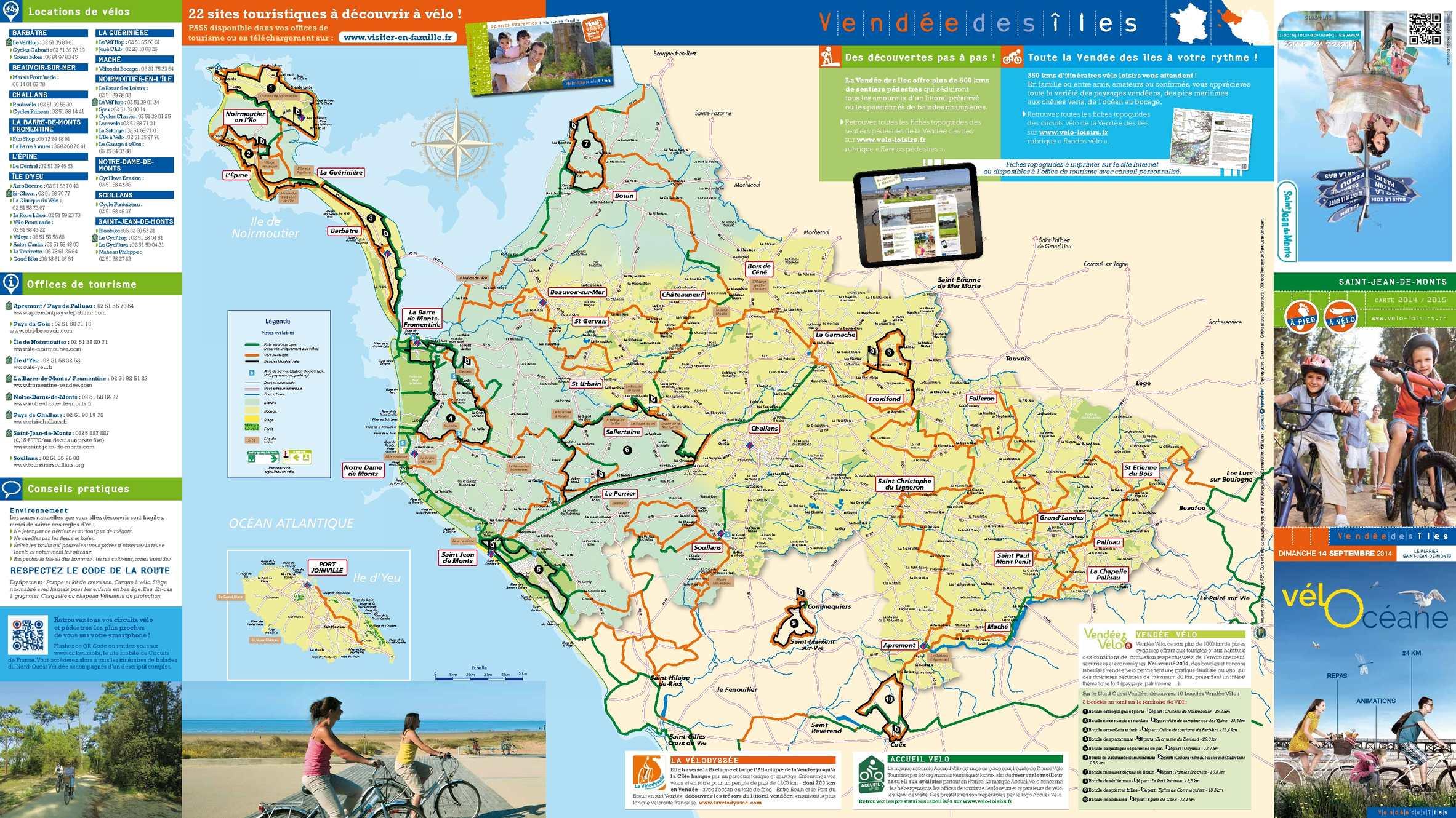 Calam o carte des pistes cyclables nord ouest vend e - Office de tourisme de st jean de monts ...