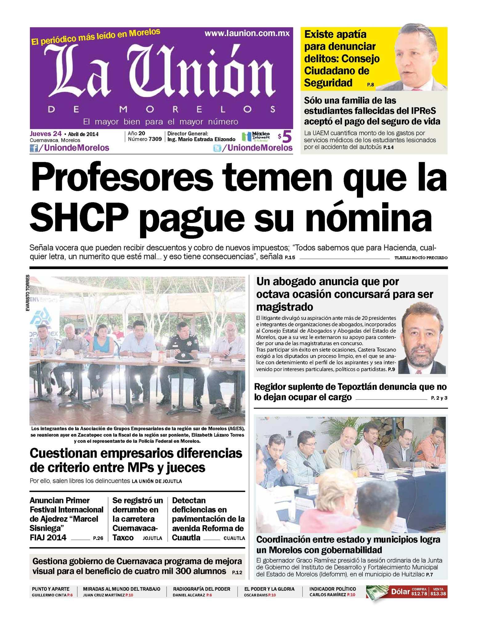 Calaméo - La Unión de Morelos 24 Abril 2014