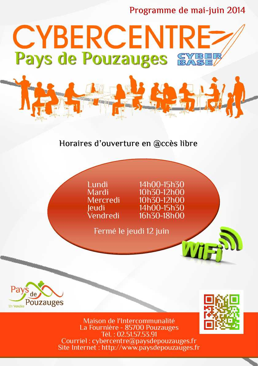 Programme des ateliers au Cybercentre du Pays de Pouzauges - mai/juin 2014