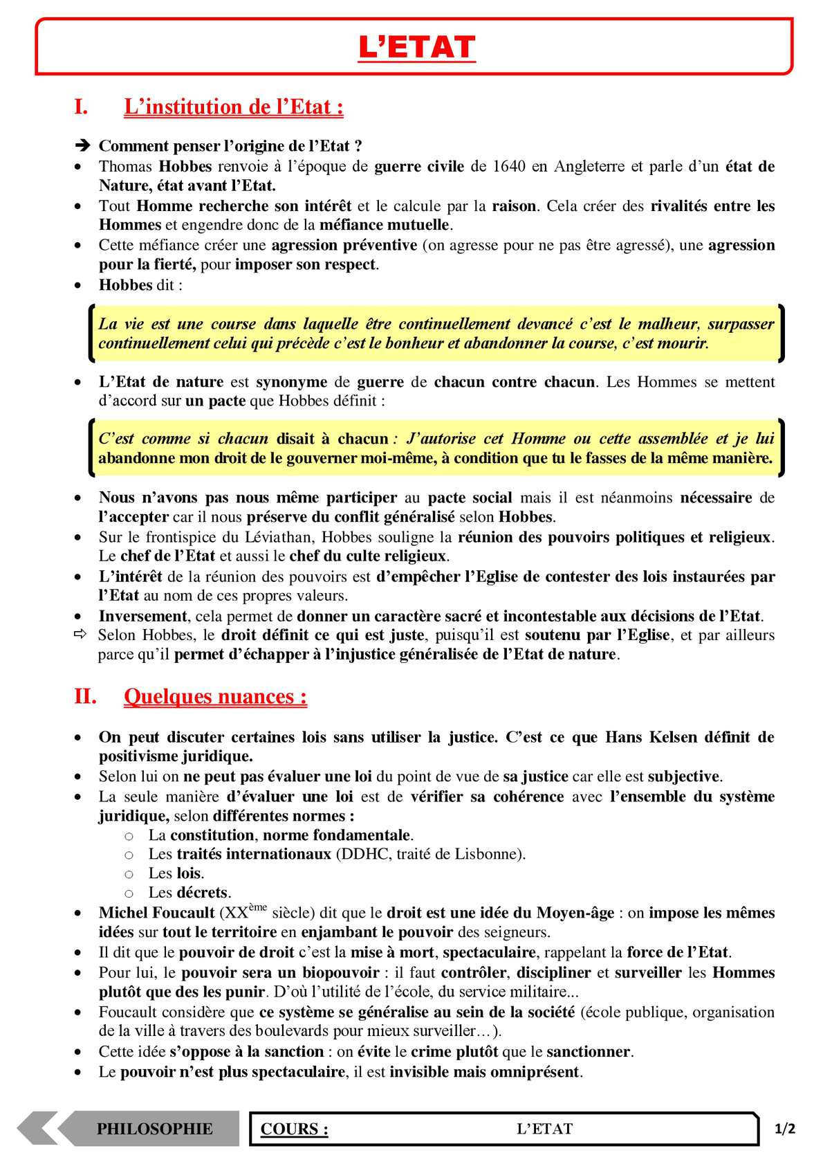 TS - PHILOSOPHIE – L'état | JéSky.fr