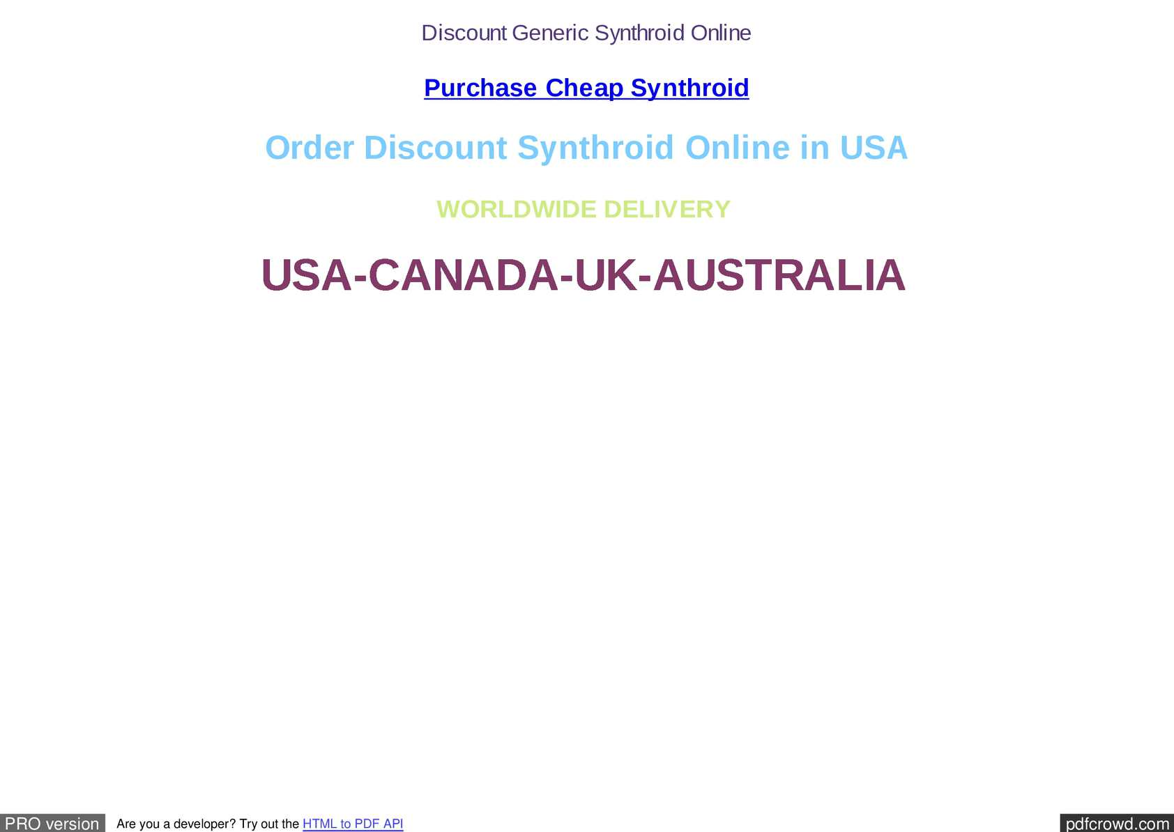 Synthroid how much