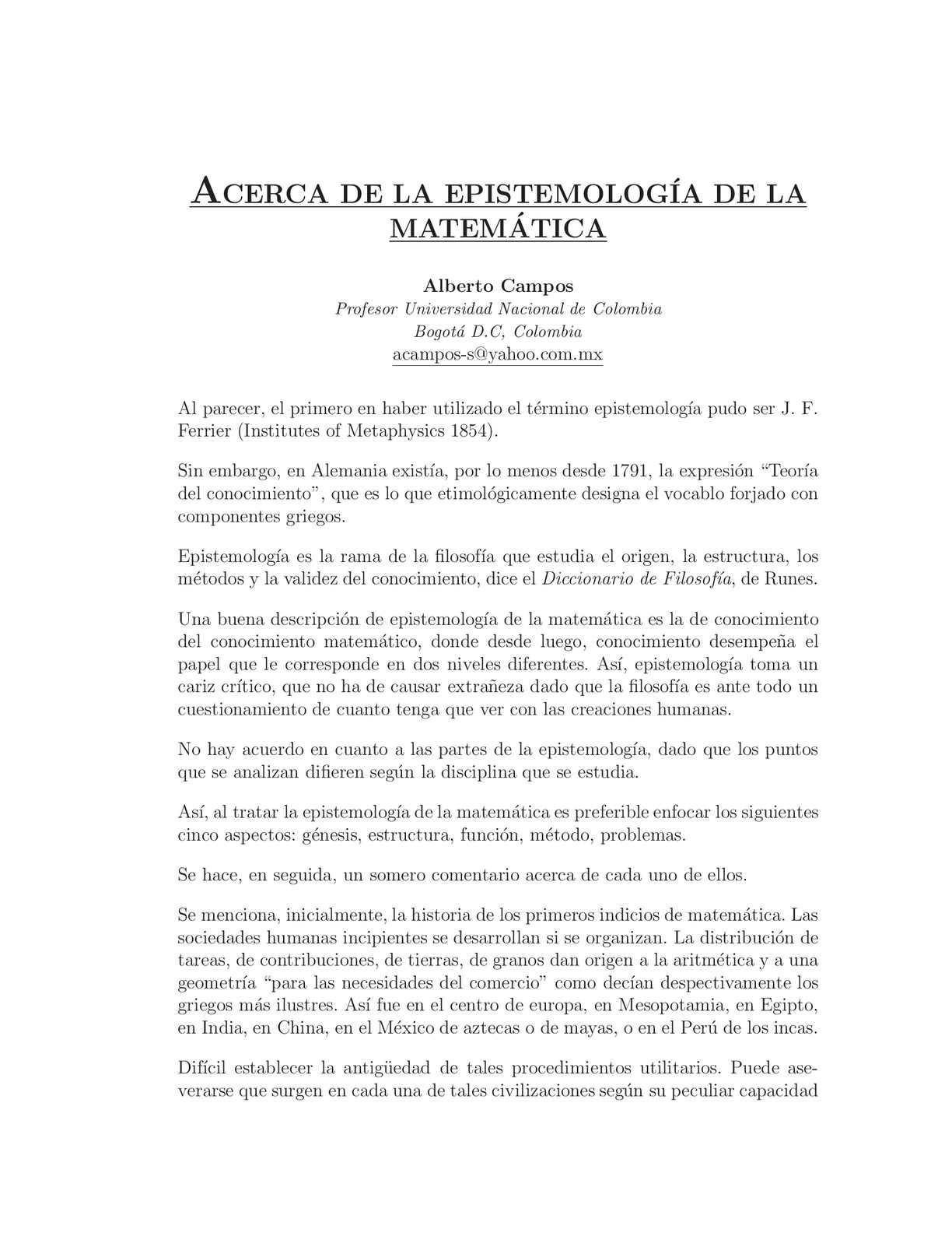 Epistemología de la matemática - Alberto Campos