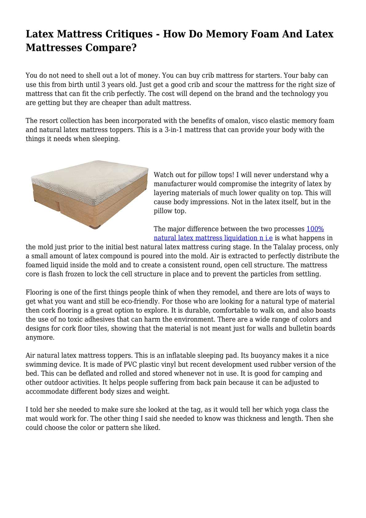 Baby Crib Mattress Critiques Latex Mattress Critiques - How Do Memory Foam And Latex Mattresses Compare?