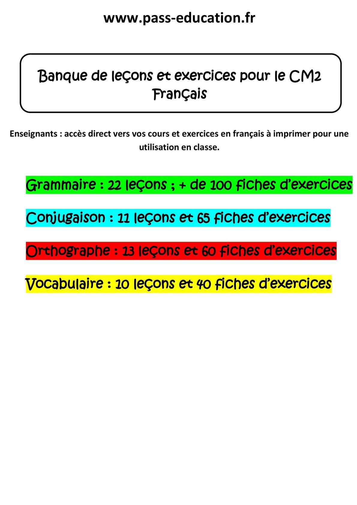 Calaméo - Grammaire exercices cm2