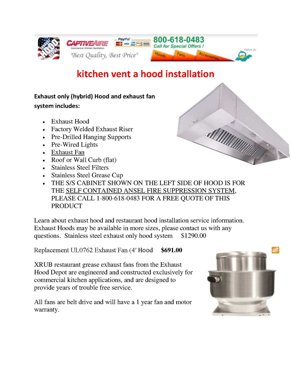 Calam o kitchen vent a hood installation for Restaurant exhaust fan motor replacement