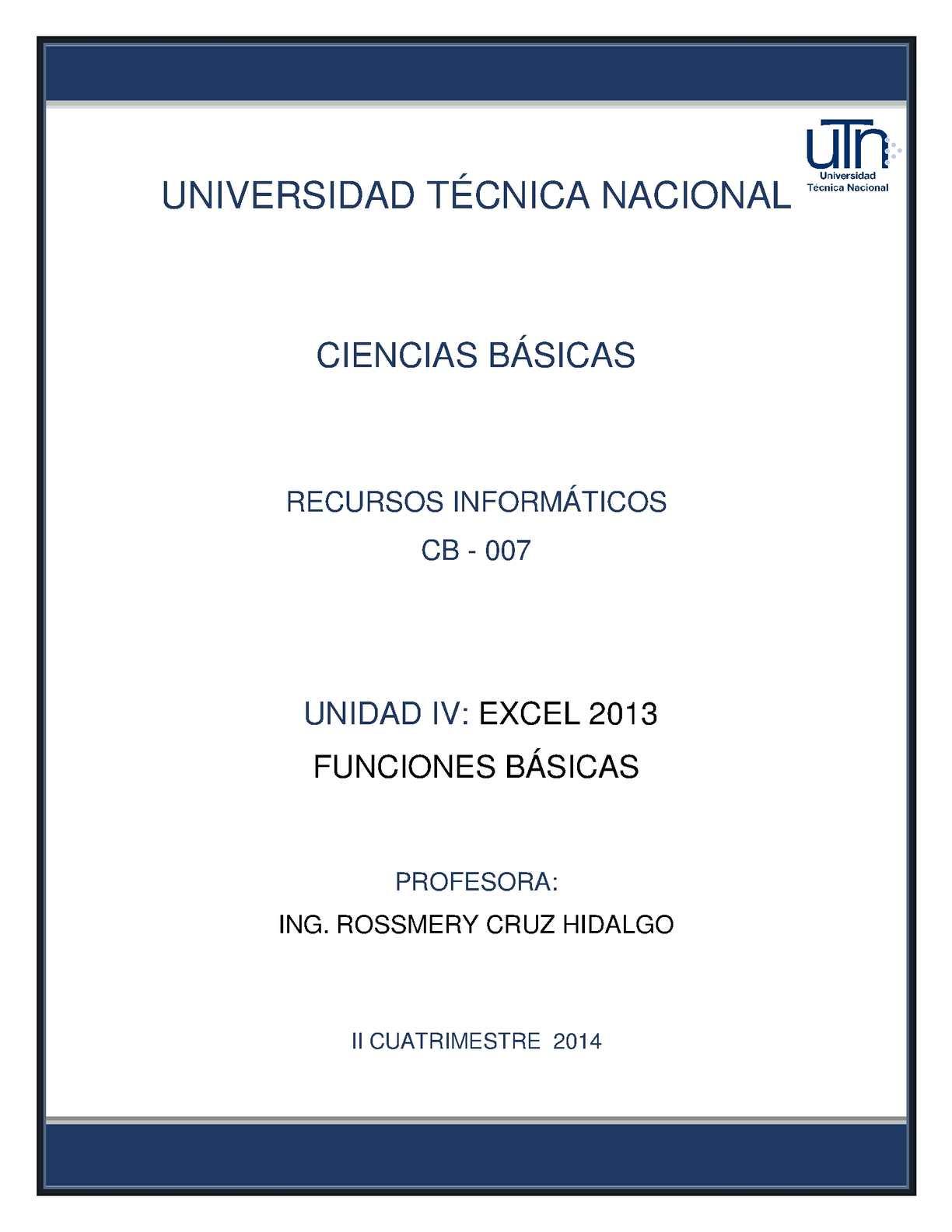 EXCEL 2013 - FUNCIONES BÁSICAS