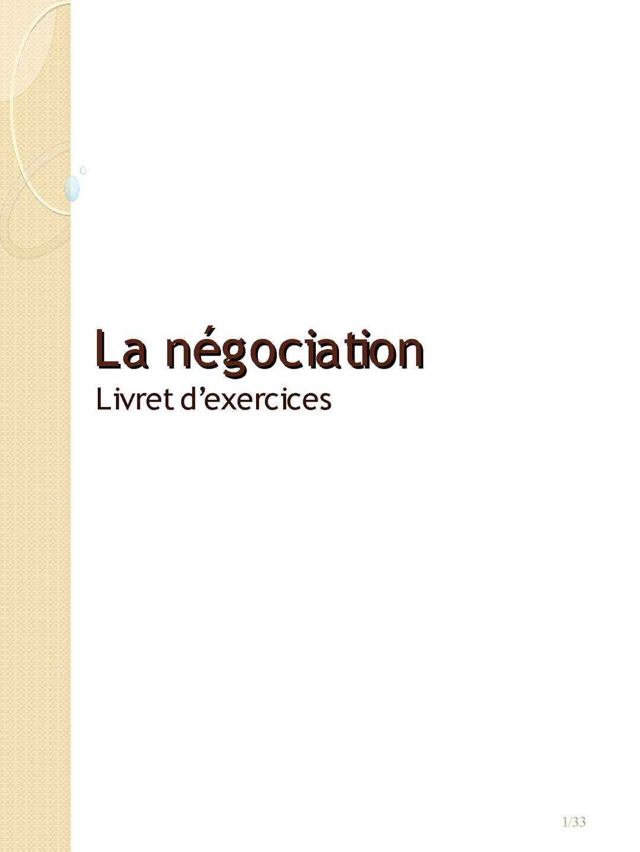 Livret d'exercices La Négociation