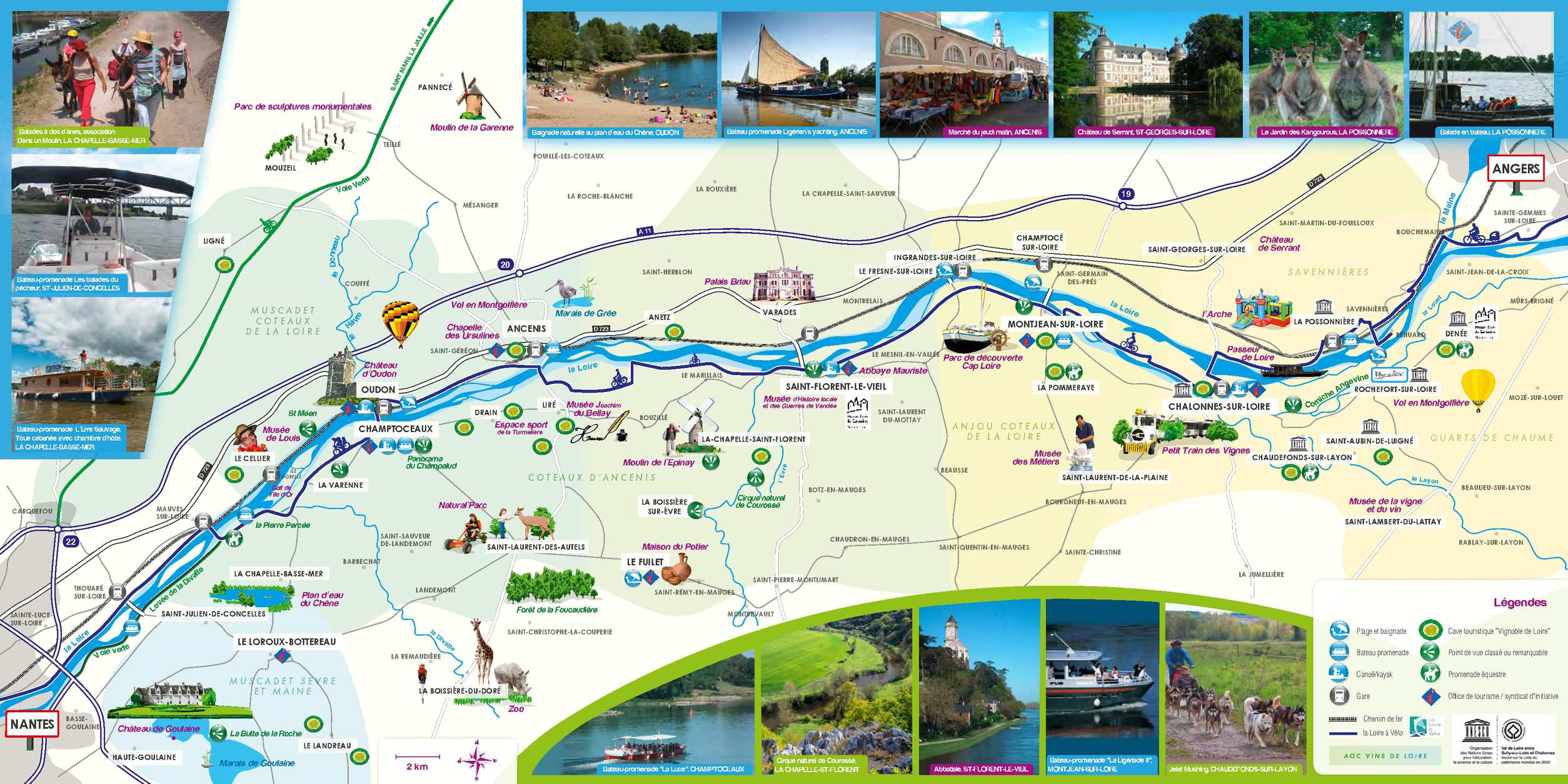 Calam o carte touristique autour de la loire entre nantes et angers - Office de tourisme maine et loire ...