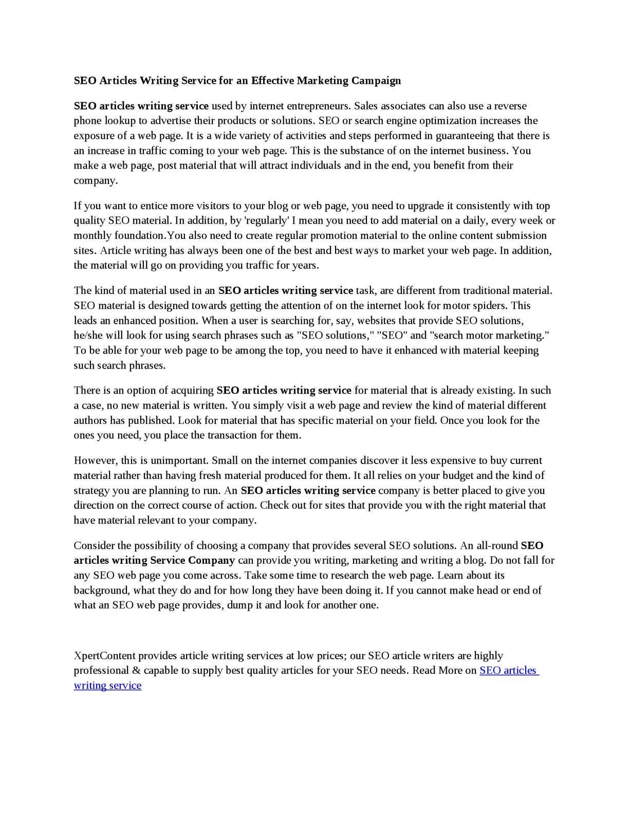 Calamo  Seo Articles Writing Service