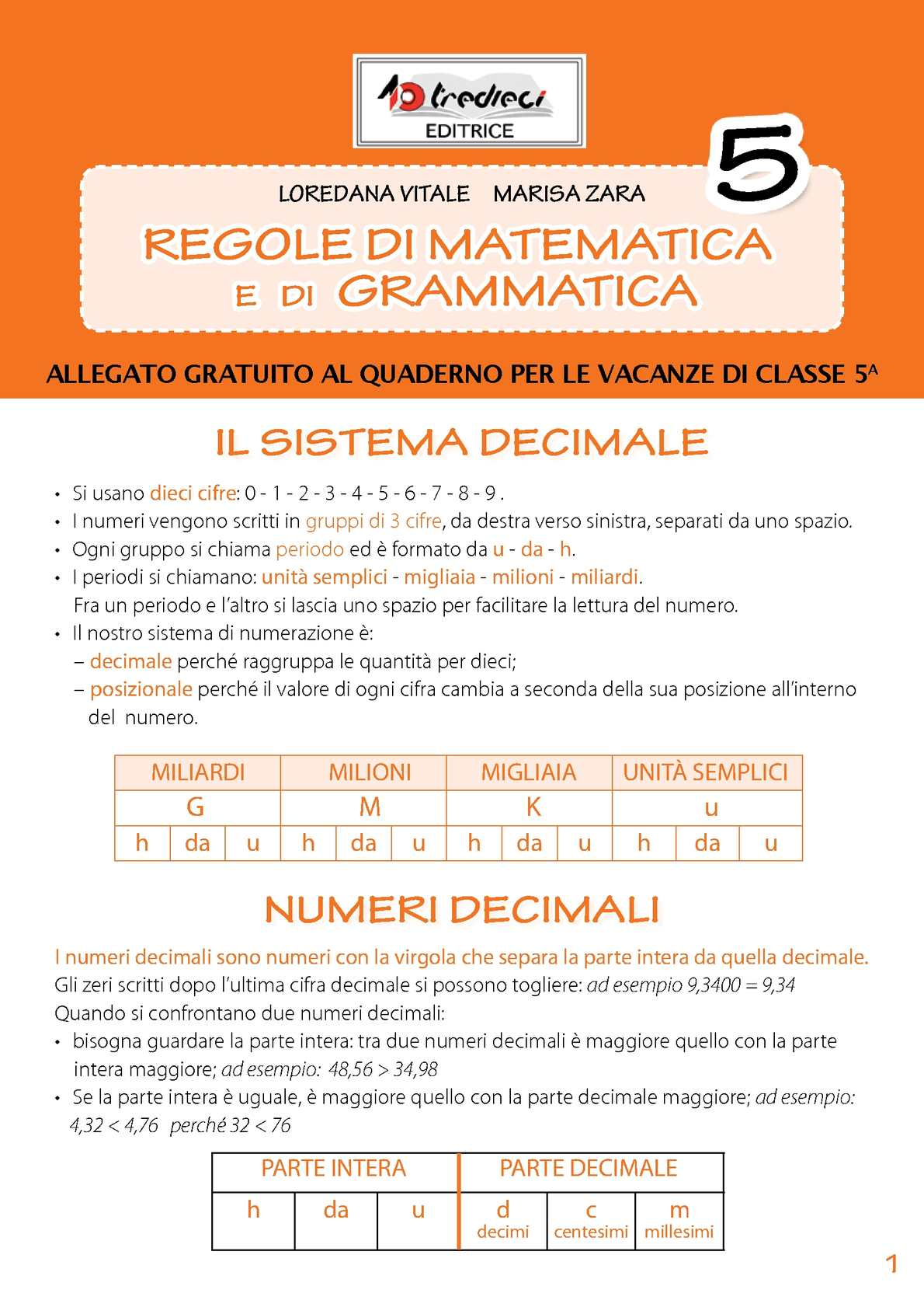 Calaméo Regole Di Matematica E Grammatica 5
