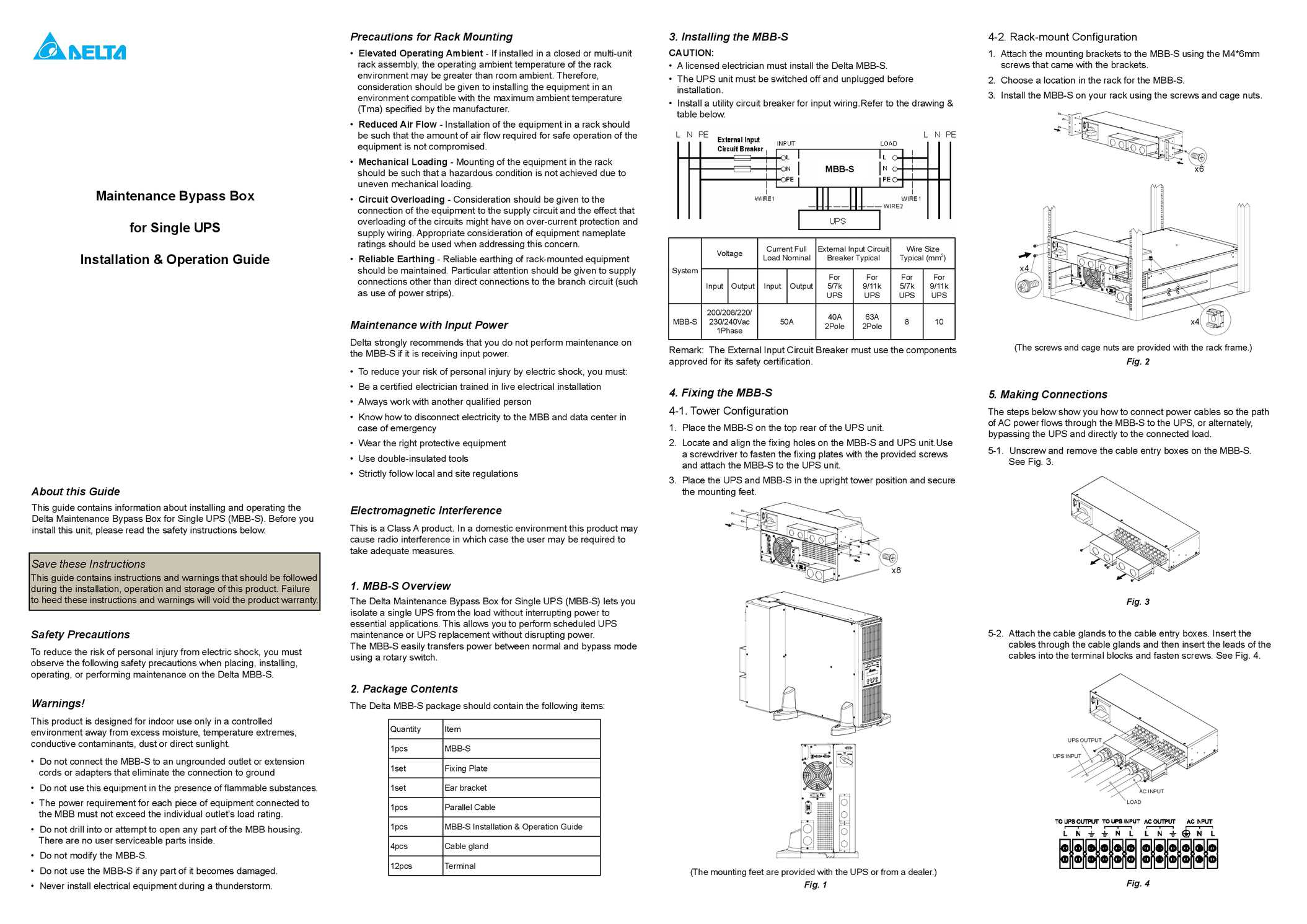 Calamo Maintenance Bypass Box For Single Ups Installation Switch Wiring Diagram Operation Guide