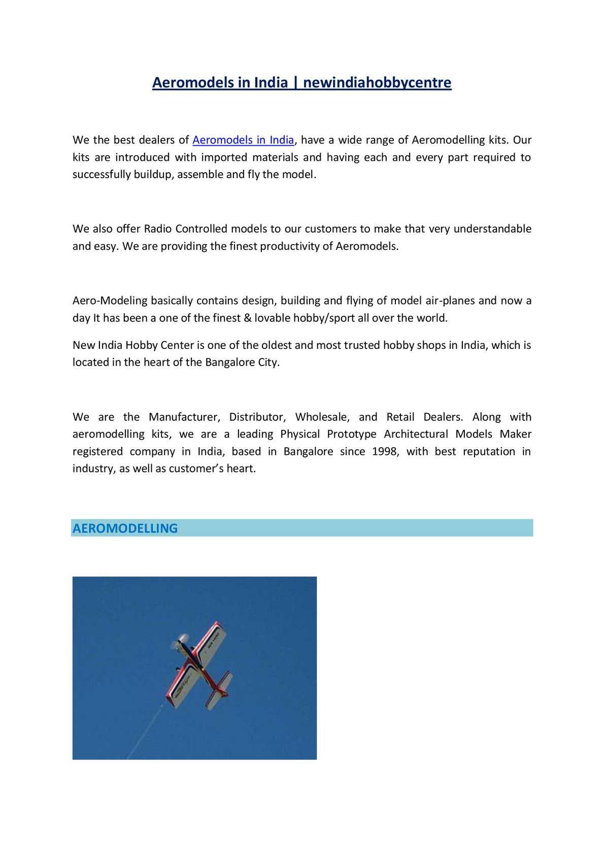 calaméo aeromodels in india newindiahobbycentre
