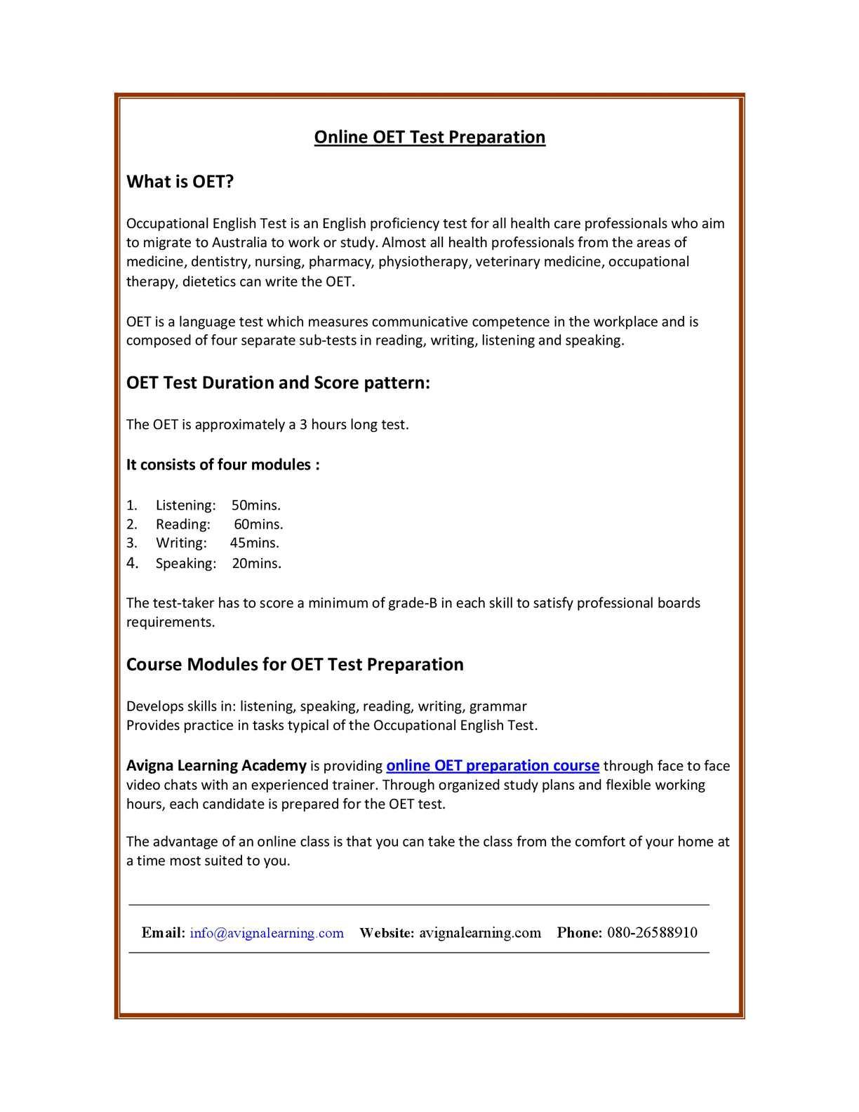 OET online preparation