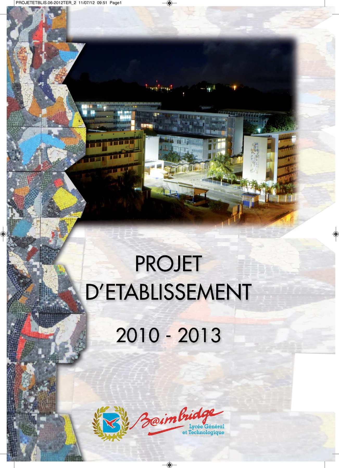 Projet d'établissement LGT Baimbridge 2010-2014
