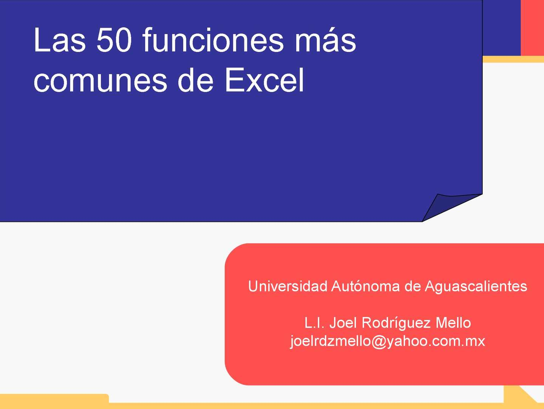 Las 50 funciones más comunes de Excel