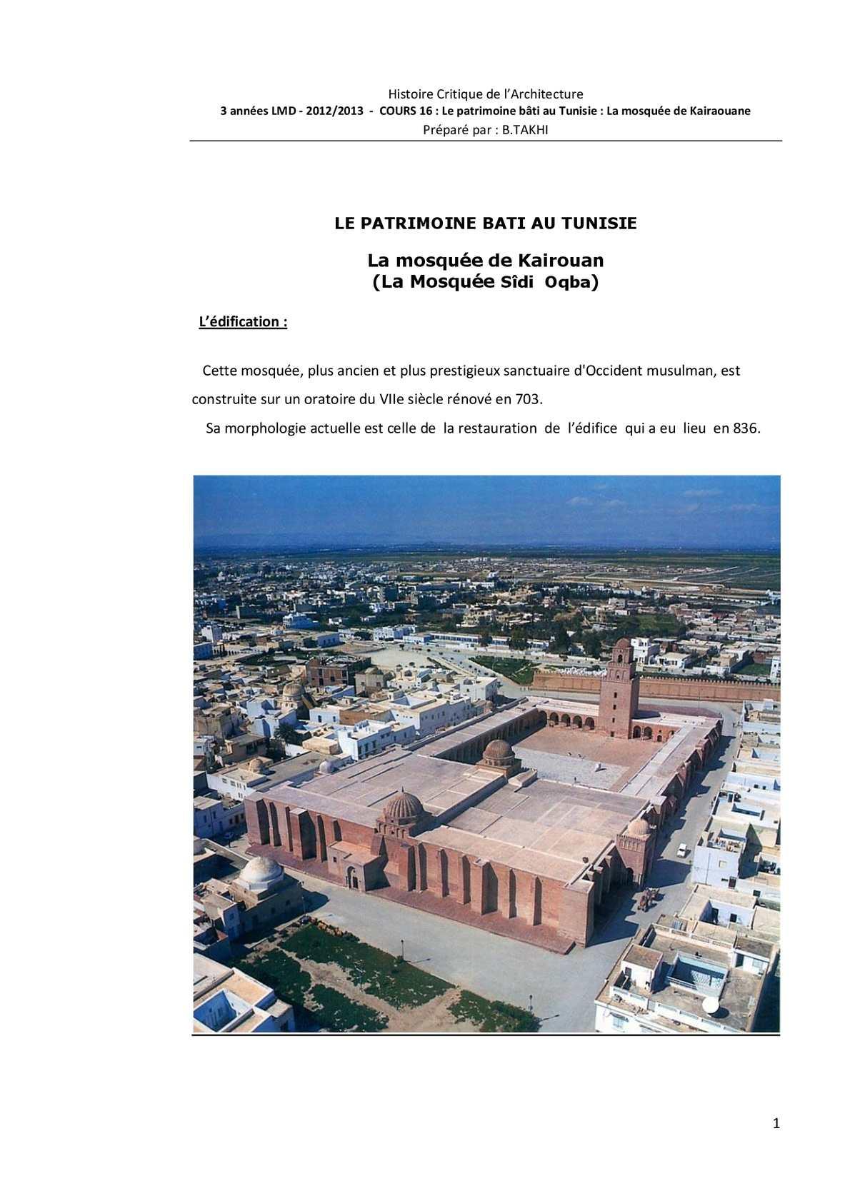 La mosquée de Kairaouane