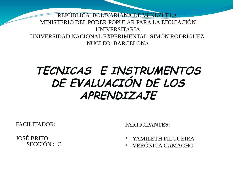 tecnicas e instrumentos de evaluacion de los aprendizajes.
