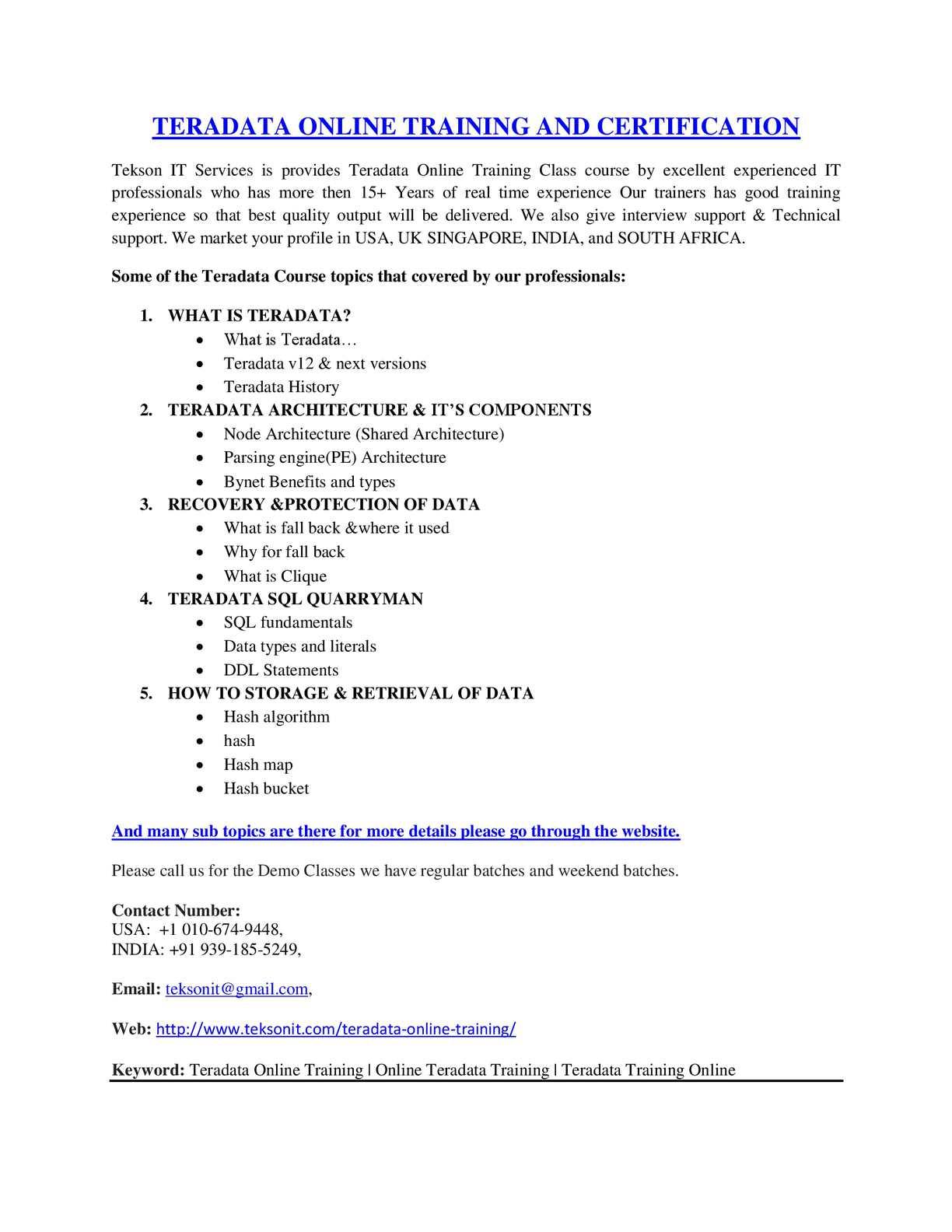 Calamo Teradata Online Training Online Teradata Training