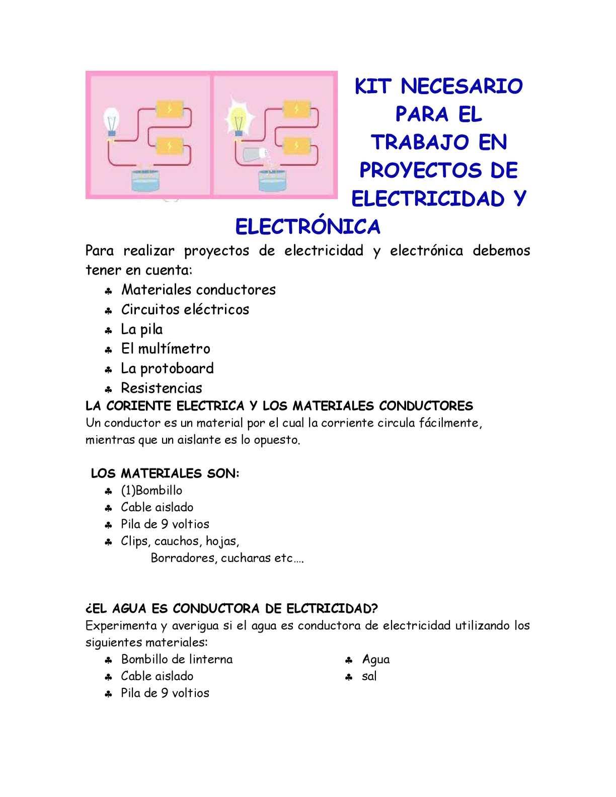Calaméo - kit de trabajo en proyectos de electricidad y electronica