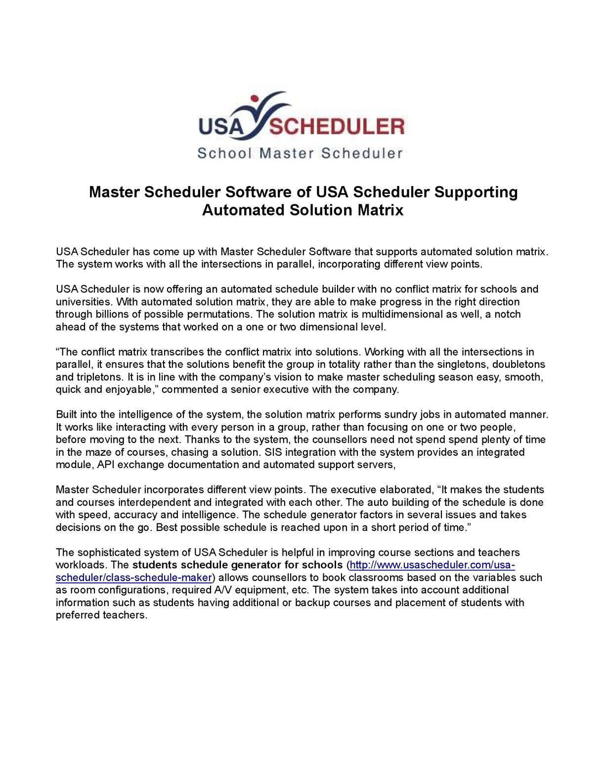 calaméo master scheduler software of usa scheduler supporting
