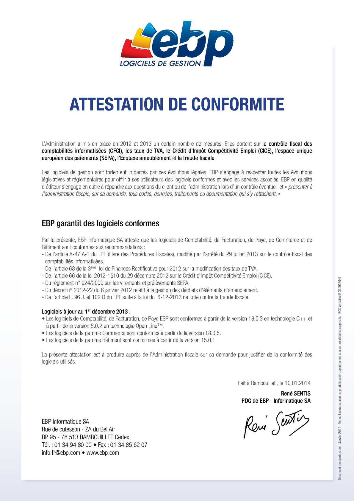 Calam o ebp attestation de conformit des obligations l gales - Attestation tva 5 5 ...
