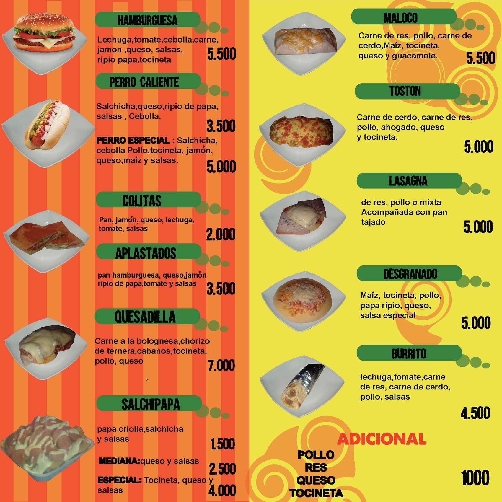 Calam o men para restaurante de comidas rapidas - Menus para comidas familiares ...